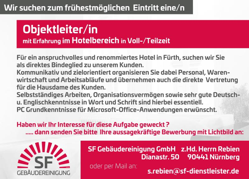 Objektleiter/in mit Erfahrung im Hotelbereich in Voll-/Teilzeit