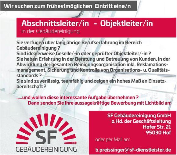 Abschnittsleiter/in - Objektleiter/in in der Gebäudereinigung